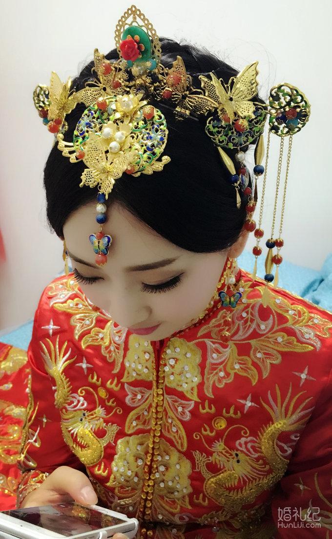 中式新娘造型,婚礼化妆作品