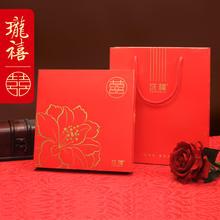 珑禧 花开富贵纸质大盒 金色红色纸质喜饼喜糖礼盒 结婚伴手礼