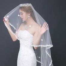 韩式新娘头纱蕾丝花边3米头纱婚礼超长拖尾新款结婚纱礼服头饰