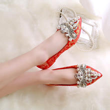 平底防滑新娘鞋春季红色婚鞋 春款单里水钻珍珠平跟婚礼鞋大码4