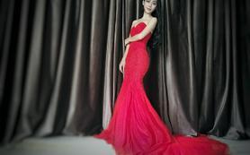 【艾珐婚纱】鱼尾蕾丝抹胸敬酒红礼服