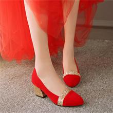 春秋高跟女单鞋红色亮片结婚鞋粗跟孕妇新娘鞋敬酒银色伴娘鞋