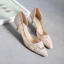 新款镂空网纱侧空高跟单鞋蕾丝浅口透气尖头细跟女鞋