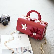 初秋时尚新款复古手提包盒子小箱手拿花朵女包