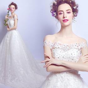 奢华性感钻石蕾丝一字肩公主新娘修身大拖尾婚纱礼服