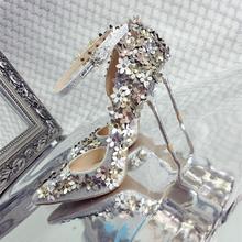 花朵尖头细跟高跟鞋女水钻单鞋金色婚鞋新娘鞋女