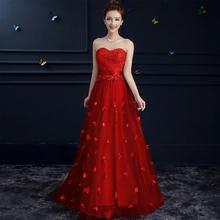 敬酒服2016新款长款新娘结婚礼服女抹胸晚礼服长裙伴娘服红色
