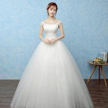 韩式热销简约婚纱 韩版蕾丝一字肩修身白色齐地婚纱礼服