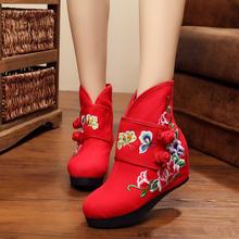 新款秋冬老北京布鞋内增高短靴民族风绣花靴坡跟布靴厚底红色婚靴