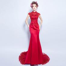 红色蕾丝钉珠性感透视露背新娘结婚敬酒服鱼尾拖尾婚纱礼服