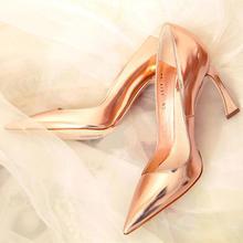 Angelababy同款欧美性感金色夜店宴会婚宴真皮羊皮婚鞋