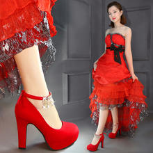 茉嘉娜婚鞋女防水台粗跟绑带红色新娘鞋绒面婚礼水钻高跟婚鞋