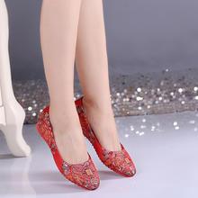2017春季新款婚鞋刺绣女红色孕妇平底新娘鞋绣花复古结婚鞋子
