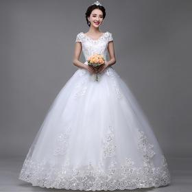 孕妇婚纱高腰 新款夏一字肩韩式显瘦大码齐地双肩婚纱礼服
