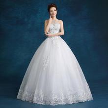 婚纱礼服钻饰新款新娘结婚一字肩时尚抹胸蕾丝齐地简约韩版
