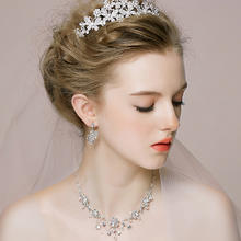 新娘头饰皇冠项链耳饰三件套装 韩式婚礼结婚发饰婚纱配饰品