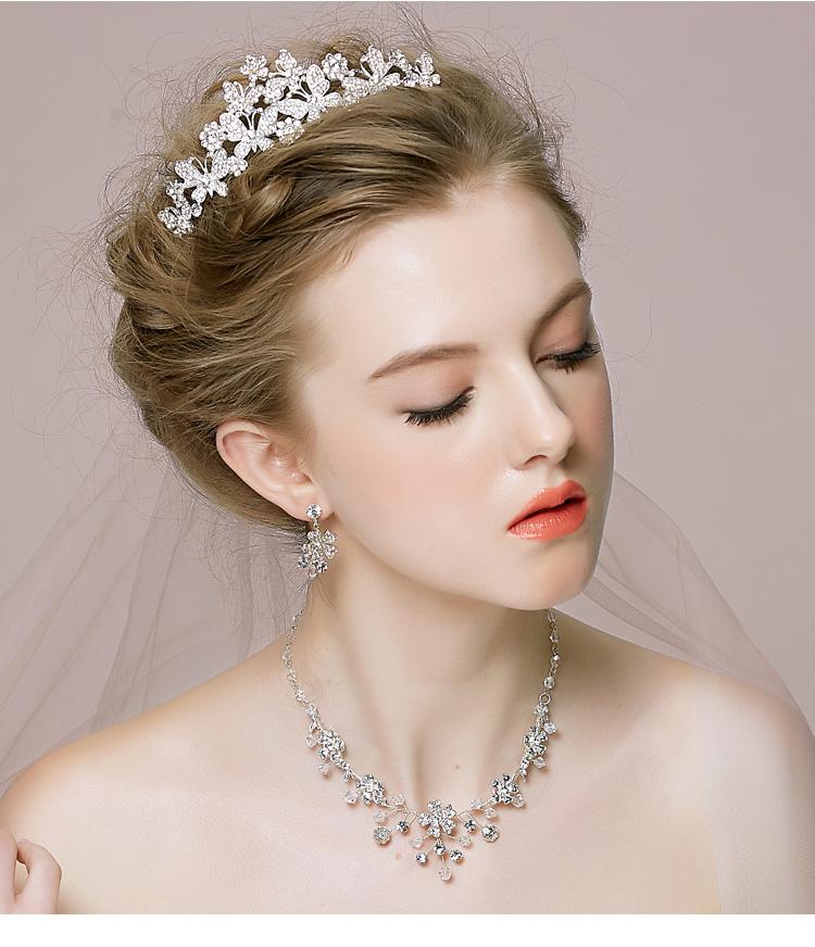 新娘头饰皇冠项链耳饰三件套装 韩式婚礼结婚发饰婚纱