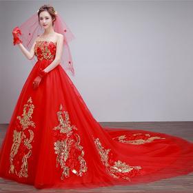 (拍下有礼)新款冬季新娘孕妇红色抹胸长拖尾公主蕾丝大码韩版秋