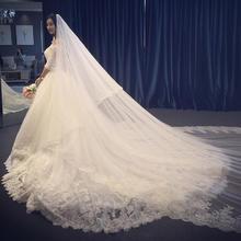 婚纱礼服新款中袖一字肩秋季韩式新娘蕾丝简约长拖尾显瘦婚纱