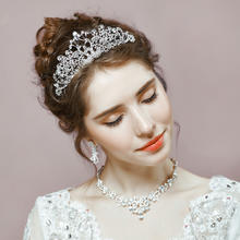 皇冠头饰 新娘结婚三件套发饰 韩式镶钻头花项链耳钉套装饰品