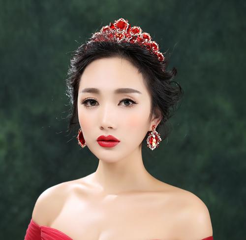 欧式头饰 >复古红色水晶饰品 新娘耳环套装 结婚礼服造型头饰 大皇冠