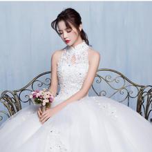 婚纱礼服新款秋冬季新娘蕾丝挂脖韩式修身齐地显瘦婚纱简约女