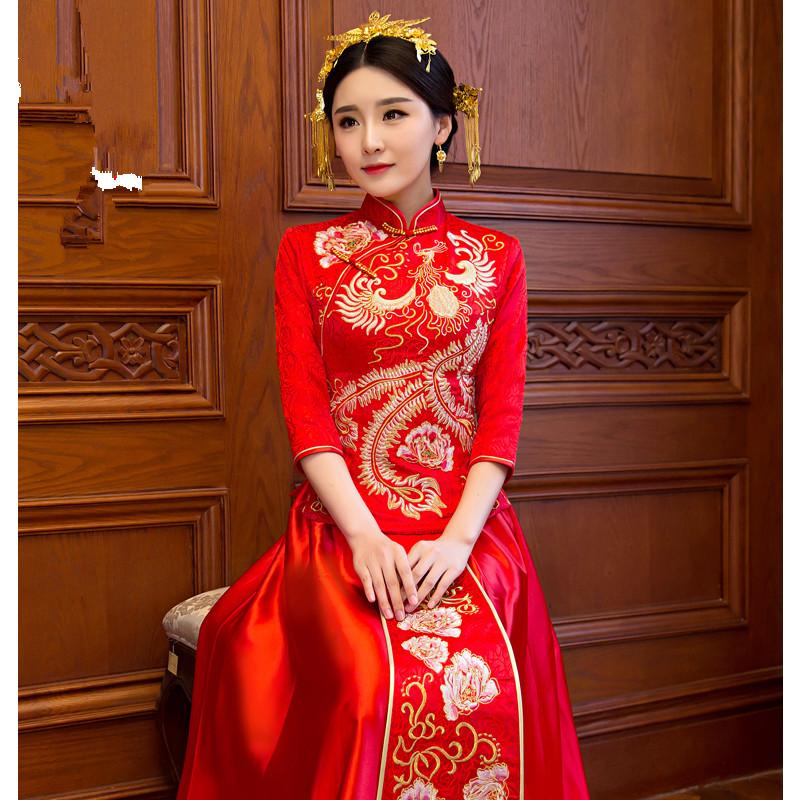 中式嫁衣2016新款秀禾服新娘礼服旗袍长款红色敬酒服秀和服龙图片