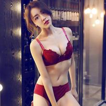蕾丝性感小胸平胸加厚款少女内衣 红色本命年聚拢调整型文胸套装