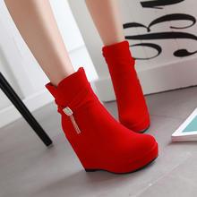 2016秋冬新款韩版坡跟短靴防水台侧拉链水钻女鞋厚底红色婚鞋