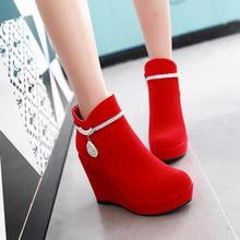 2016秋冬新款马丁靴潮女短靴磨砂韩版圆头坡跟厚底红色婚鞋女