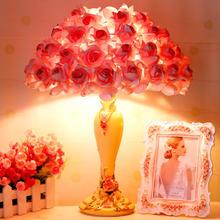 台灯卧室床头简约现代婚庆婚房结婚礼物创意暖光玫瑰花灯M13