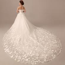 下单送7件套】新款韩式公主花朵新娘婚纱礼服长拖尾抹胸修身齐地