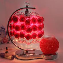 卧室床头结婚婚庆礼品喜庆红色创意玫瑰花香薰台灯欧式插电调光
