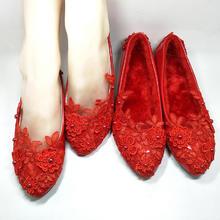 加绒棉红色婚鞋矮跟单鞋新娘鞋平底平跟孕妇鞋手工婚鞋加厚鞋子
