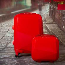 韩国万向轮拉杆箱旅行箱行李箱包钻石红结婚箱陪嫁箱子24寸子母