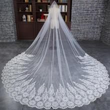 新款韩式蕾丝花边大拖尾头纱超长款新娘结婚婚纱头纱定制