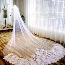 2016热销韩式新娘头纱婚纱新款3米头纱超长结婚头纱蕾丝拖尾