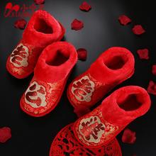 结婚庆喜庆包跟棉拖鞋红色老公老婆龙凤刺绣情侣拖鞋秋冬