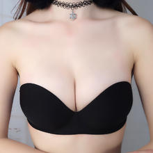 一片式无肩带隐形文胸性感无痕内衣  胸贴婚纱聚拢防滑美背胸罩