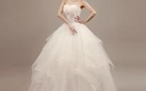 2016新款秋冬季韩式新娘抹胸婚纱齐地修身孕妇结婚蓬裙
