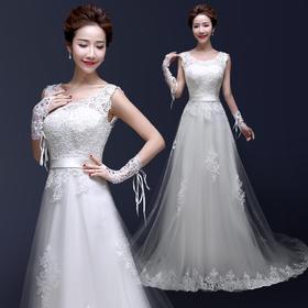 婚纱礼服新娘 秋季新款婚礼韩式双肩齐地修身大码一字肩小拖尾