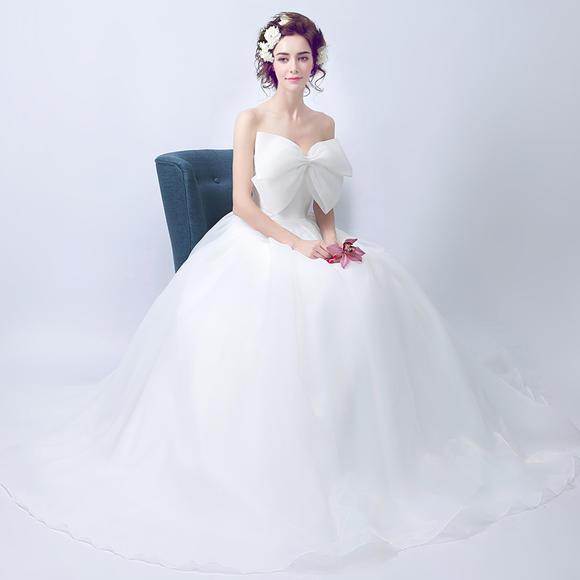甜美大蝴蝶结性感抹胸韩版公主新娘修身齐地婚纱礼服新款