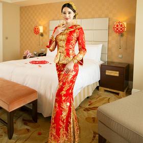 小凤仙喜服中式嫁衣新娘结婚礼服敬酒服2016新款QP610