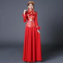 送模特同款头饰】中式礼服女敬酒服新娘旗袍长款红色结婚喜服嫁衣
