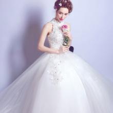 奢华性感蕾丝钉珠中式立领露背公主新娘修身齐地婚纱礼服2517