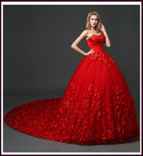 新款韩式公主红色花朵新娘婚纱礼服长拖尾抹胸修身
