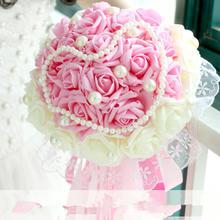 浪漫韩式新娘手捧花仿真花假花结婚婚礼手捧拍摄摄影道具加珍珠