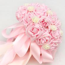 粉色玫瑰手捧花韩式婚礼结婚手捧花仿真新娘手捧加珠链送胸花腕花