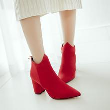 秋冬新款韩版红色婚鞋女高跟马丁靴粗跟短靴新娘鞋SW女靴裸靴