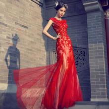 新娘敬酒服新款红色结婚晚礼服长款主持人鱼尾裙宴会修身女